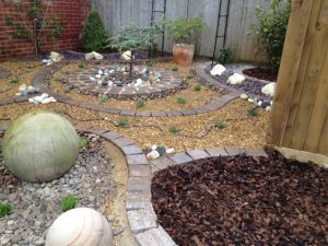 Low Maintenance Landscaped Garden from completely turfed area